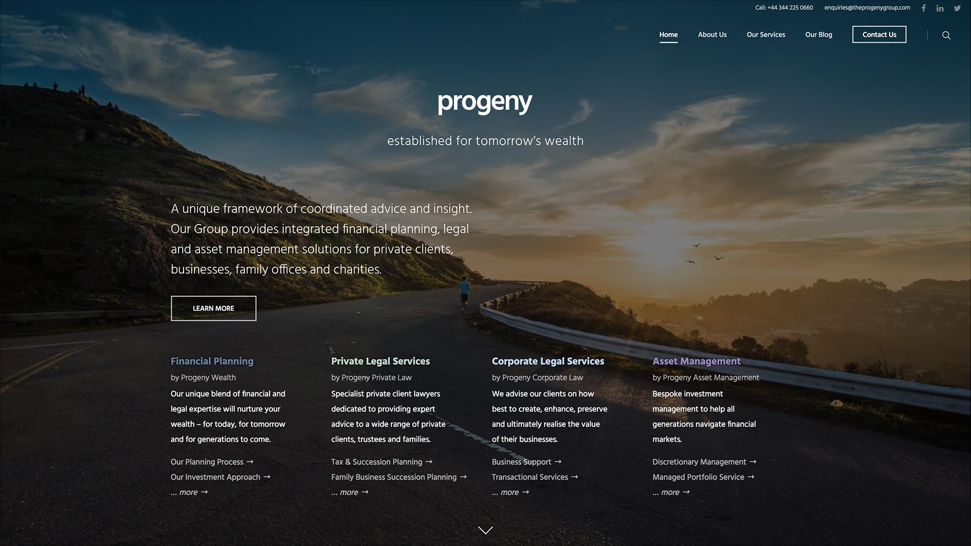 New Progeny Website Screenshot