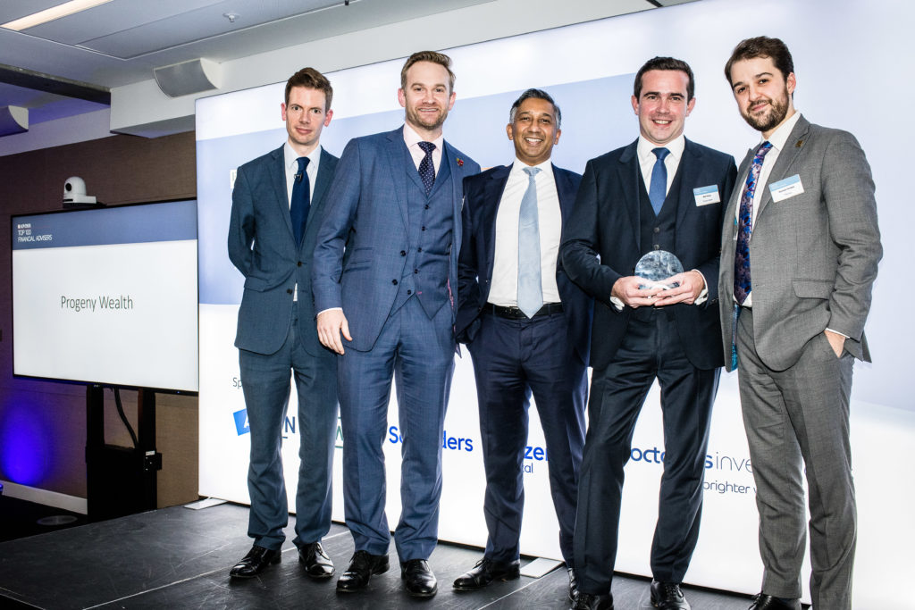 Neil Moles, Andrew Pereira and Alex Shaw at the FTAdviser awards