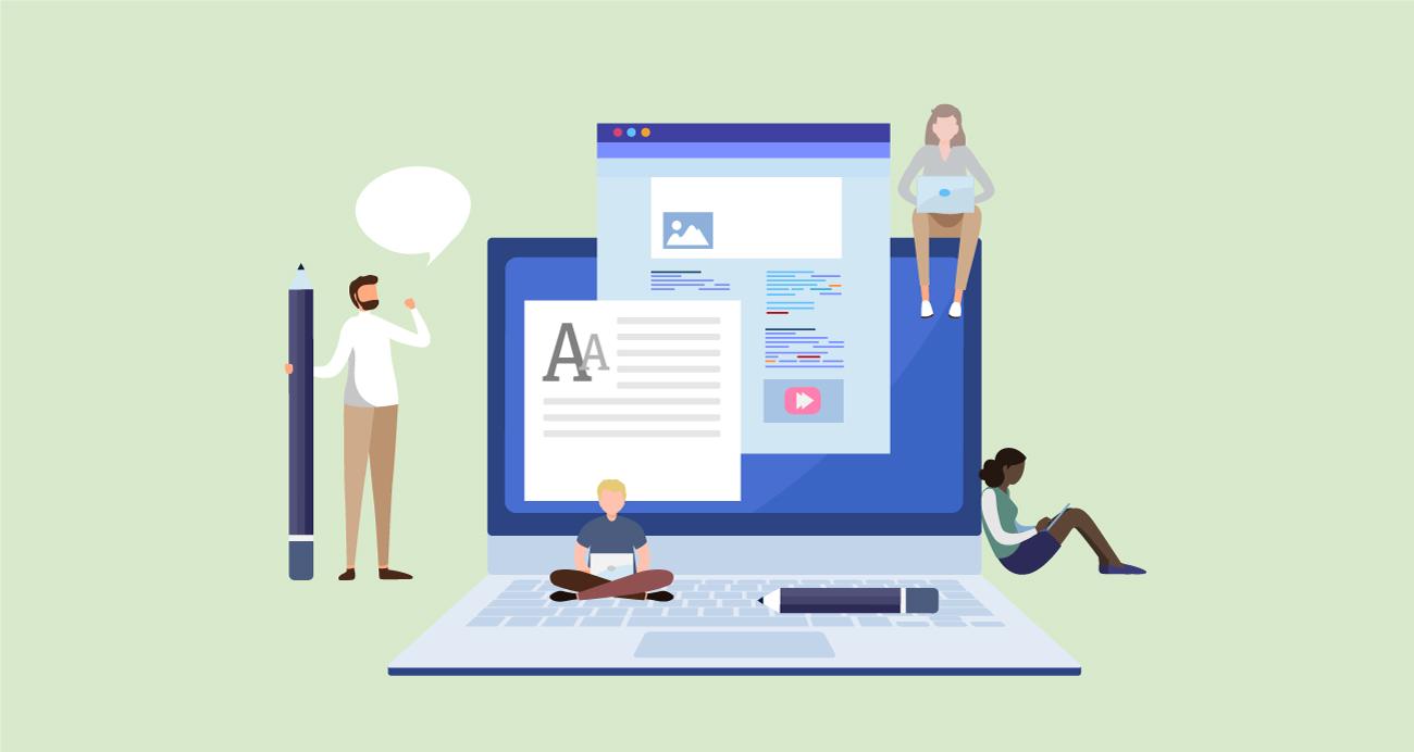 Illustration of people blogging