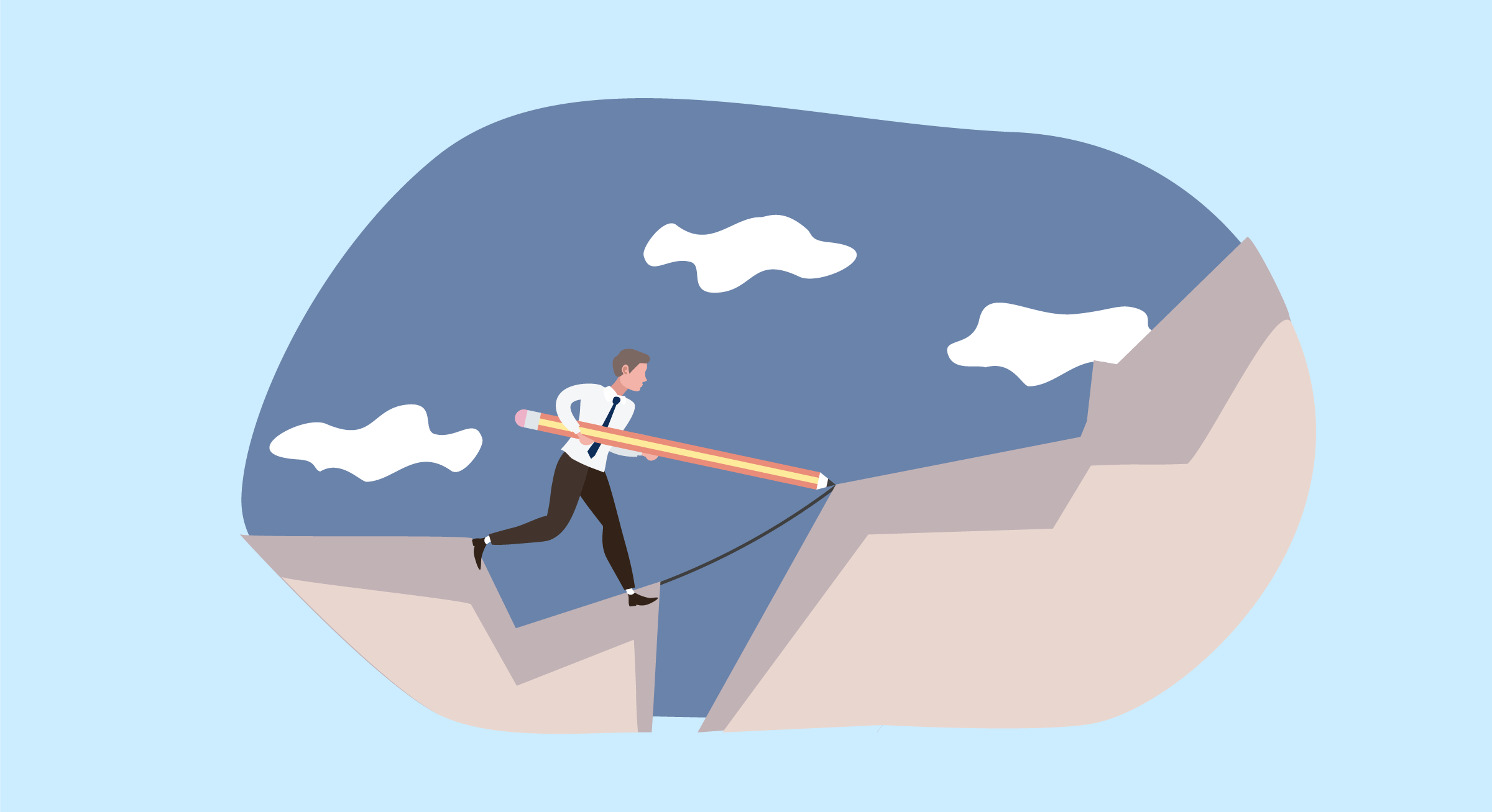 Illustration of a man forging his own path