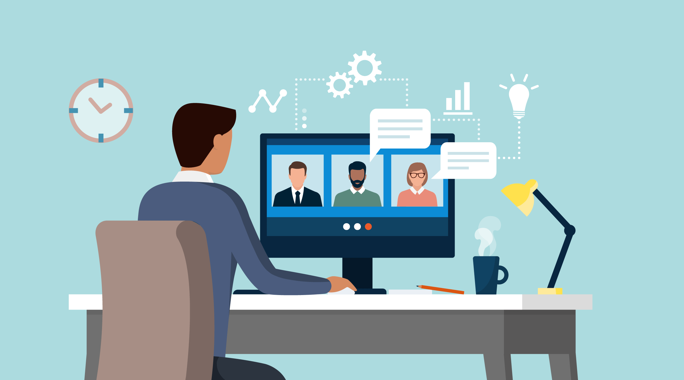 Illustration of business video conference