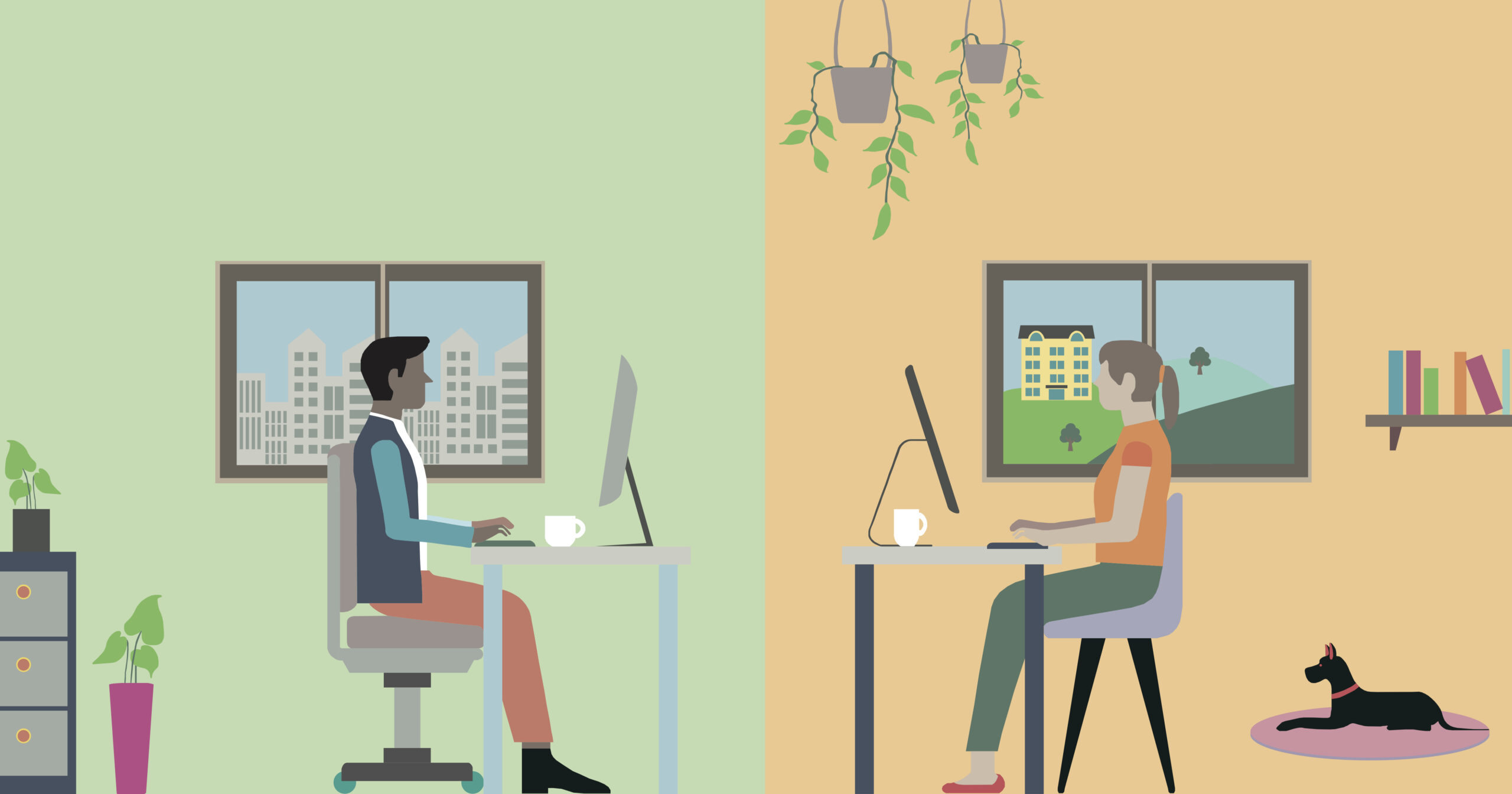 Illustration of people working at home and in the office
