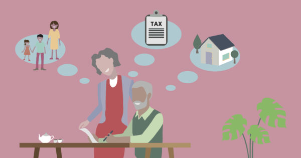 Illustration of couple writing a Will