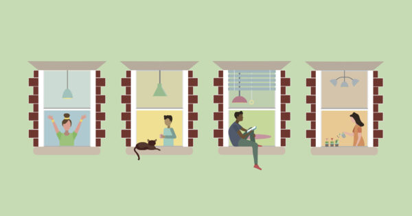 Illustration of people relaxing