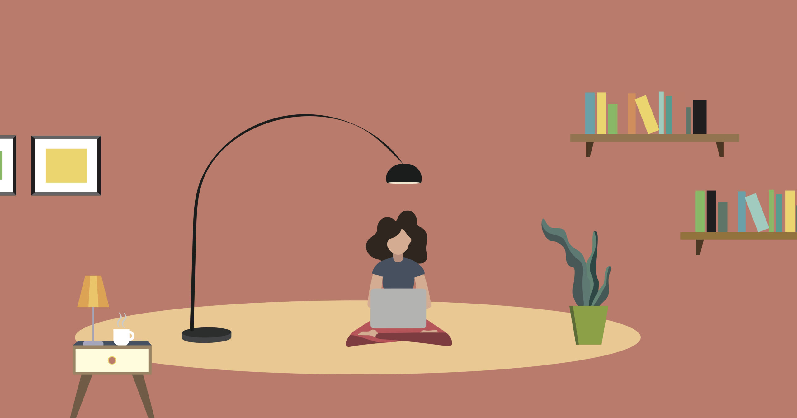 Illustration of woman sitting in living room