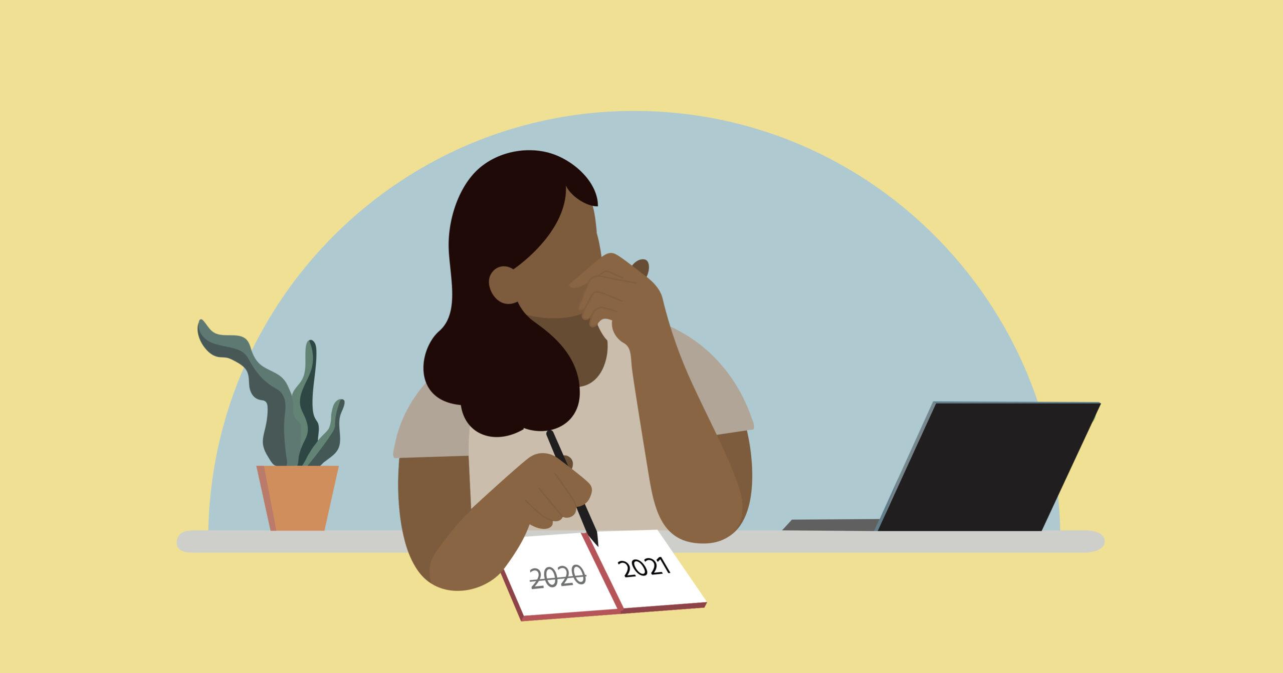 Illustration of woman planning