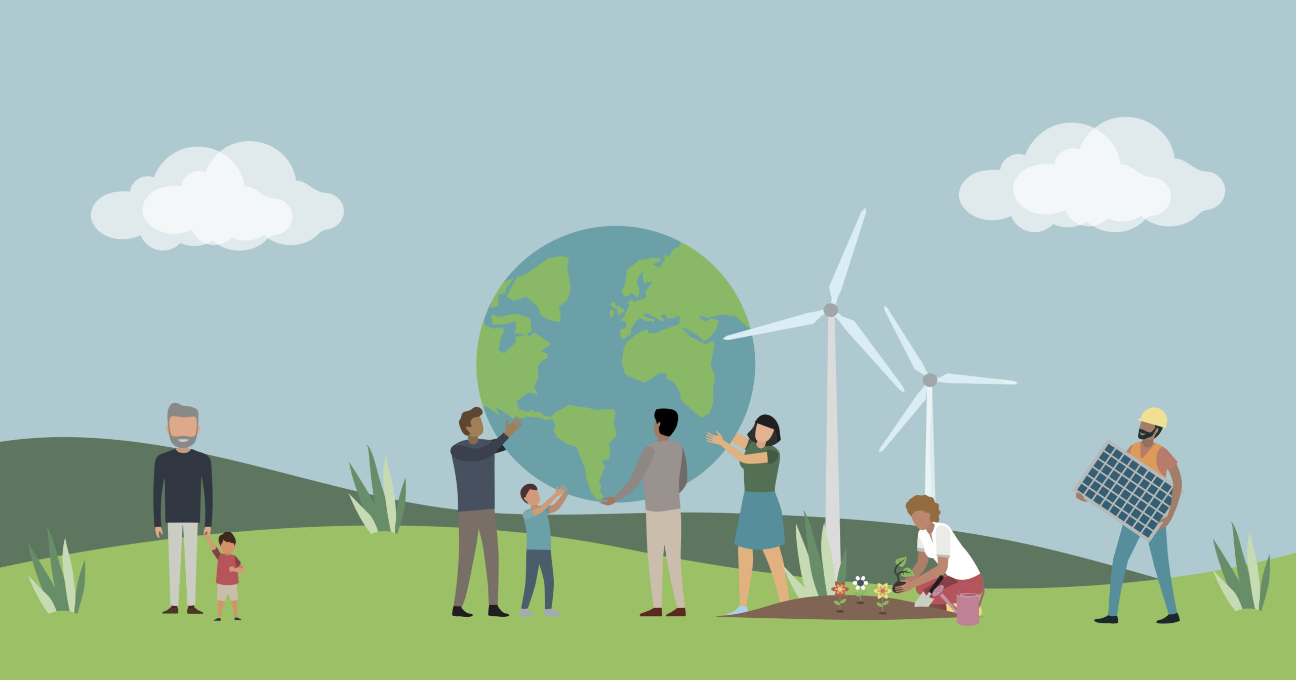 Graphic of people holding up the earth, wind turbines, solar panels