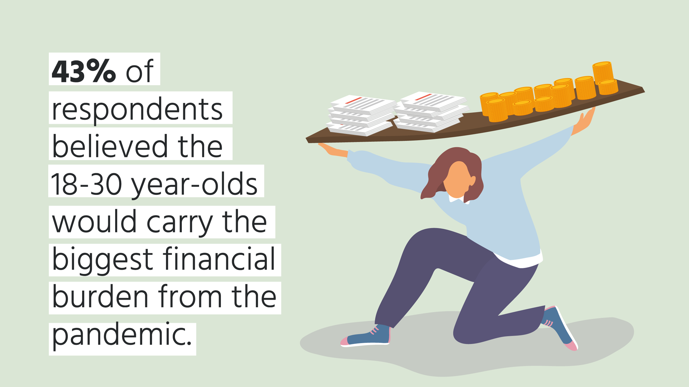 Illustration of young person carrying financial burden