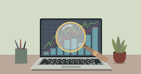 Illustration of stock market and magnifying glass