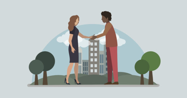 Illustration of two people meeting