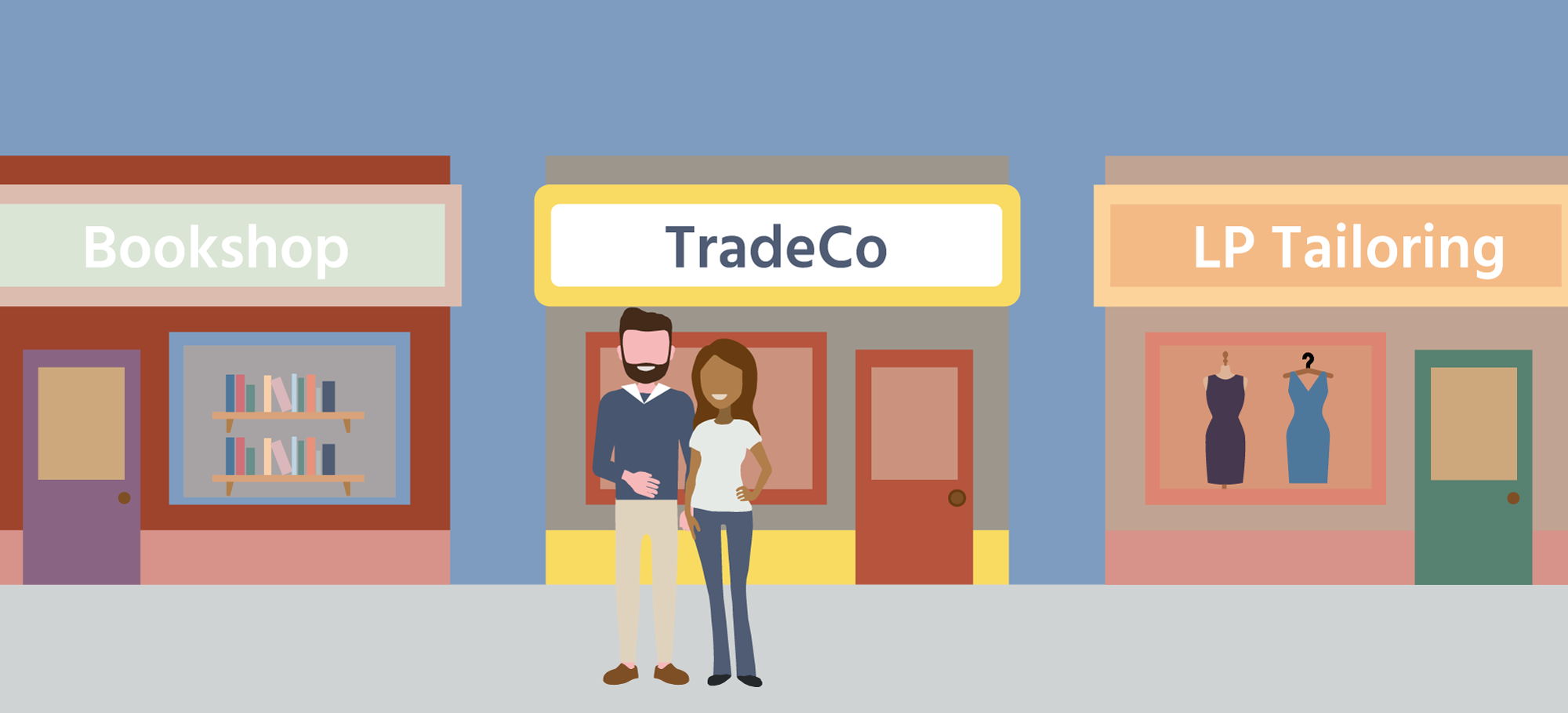 Illustration of couple in front of their business