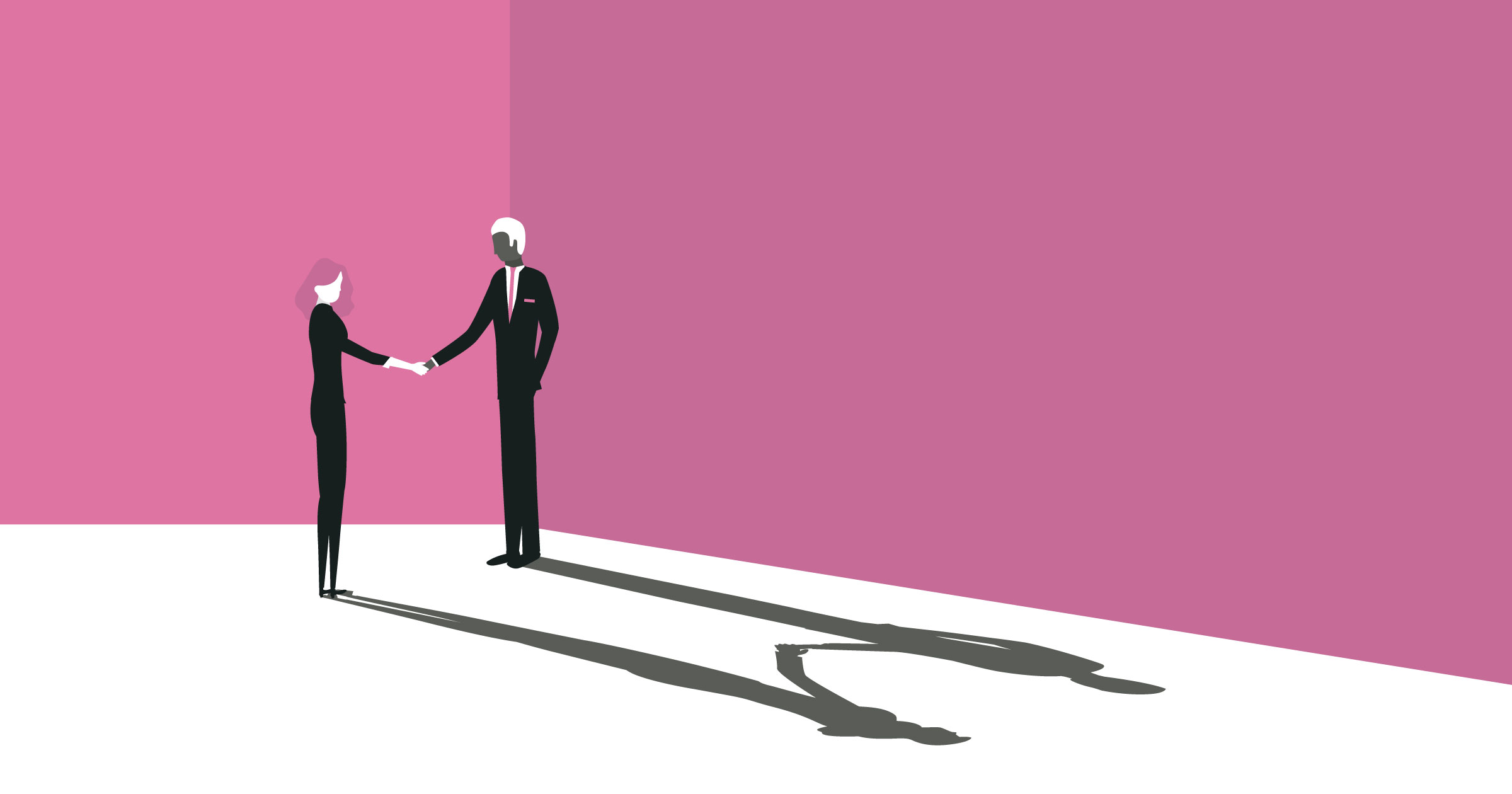 Illustration of two business people shaking hands