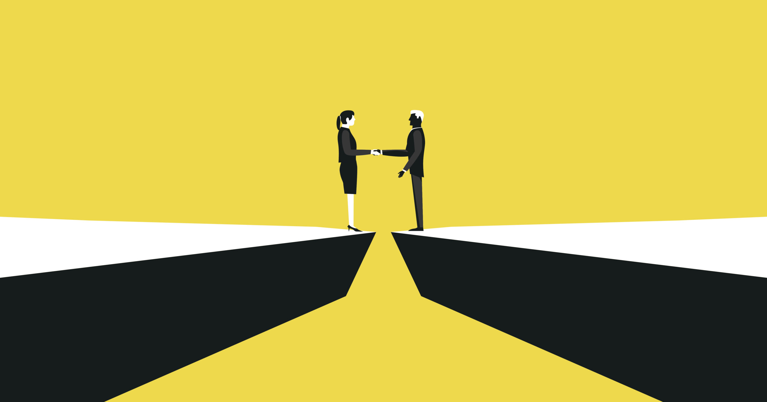 Illustration of two people shaking hands across a divide