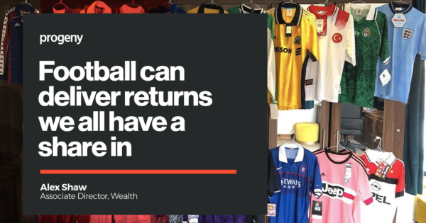 Photo of football shirt collection with title text