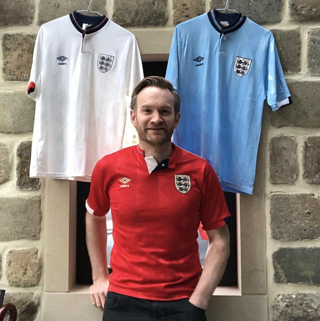 Alex Shaw with England shirts