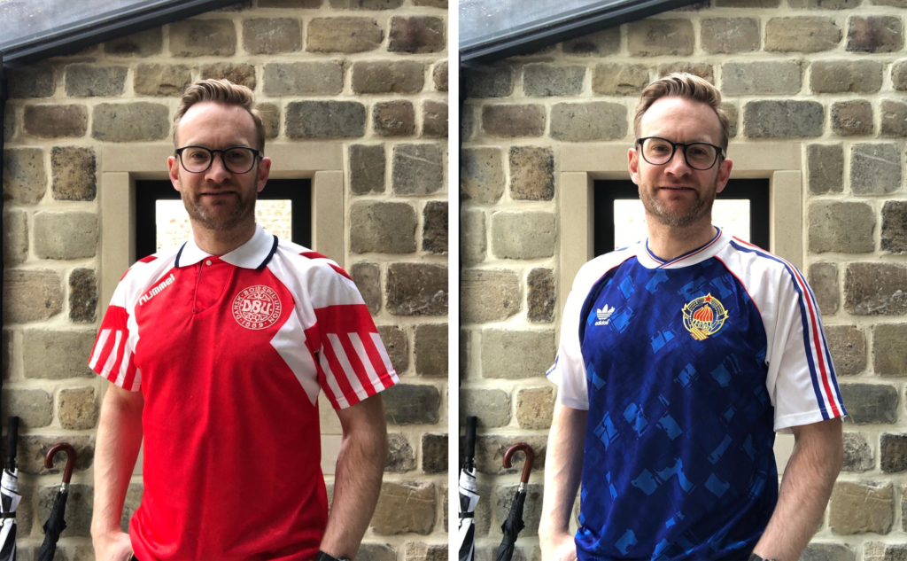 Photos of Alex Shaw with Euros shirts
